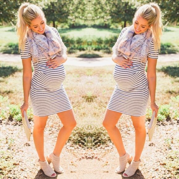 ce8c8594171cc Navy Striped Short Sleeve Tall Maternity Dress. M_5bd87e9bc89e1db1d0306e29